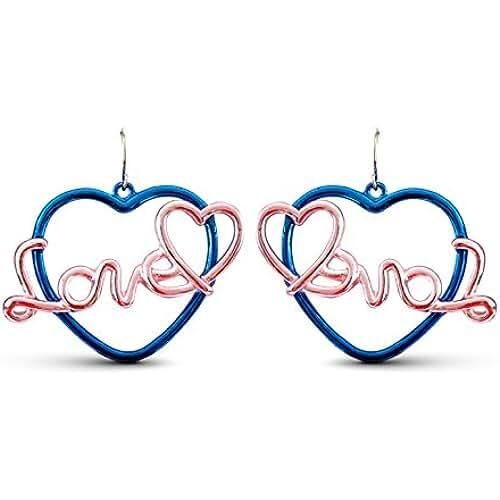 Lizzyoftheflowers–azul y rosa Amor y Corazón Pendientes Colgantes