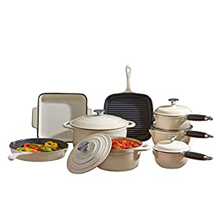 Deluxe Cast Iron Heavy Gauge Cookware Complete 8 Piece Cooking Set by Cooks Professional (Cream)