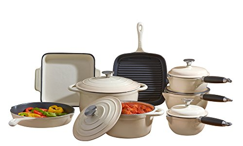 Cooks Professional Deluxe Cast Iron Heavy Gauge Cookware Complete 8 Piece Cooking Set. (Cream)