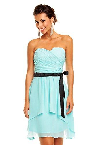Chiffon Kleid mit Herzausschnitt und Gürtel, Cocktailkleid Abendkleid kurz, aqua blau XL 40