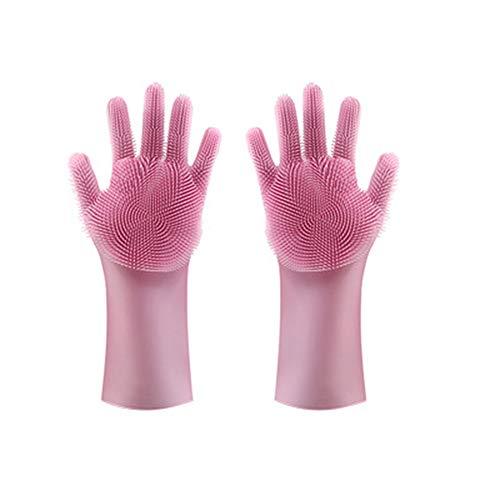 RIsxffp 2in1 Silicon Dish Cleaning Scrubber Handschuhe zum Waschen von Tellern Küchenutensilien Pink -