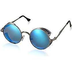 Aroncent Herren Damen Rund Sonnenbrille Retro UV400 Schutzbrille Polarisierte Verspiegelt Sonnenbrille Vollrand Sonnenbrille, Blau