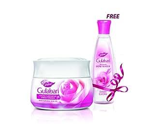 Dabur Gulabari Moisturising Cold Cream (Skin Moisturiser) - 55 ml with Free Gulabari Rose Water - 59 ml