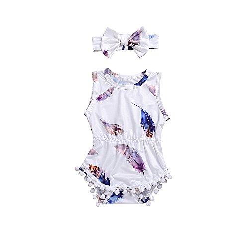 JUTOO Baby Mädchen 2 Stücke Set Infant Kinder Sleeveless Strampler Jumpsuit + Stirnband Set (Weiß-A,90)