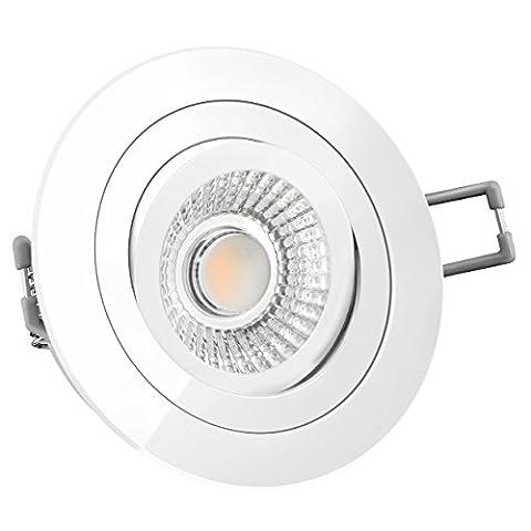 LED Decken Einbaustrahler Spot inkl. 6W LED Modul RA 90 rund schwenkbar flach weiß lackiert dimmbar LED Deckenleuchte Strahler Einbauleuchte Deckenstrahler für 230V ohne Trafo warmweiß