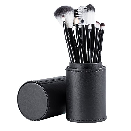 Duhud Lot de 8 pinceaux à maquillage professionnel, fond de teint, mélange, blush, yeux, visage, liquide, poudre, crème, avec étui