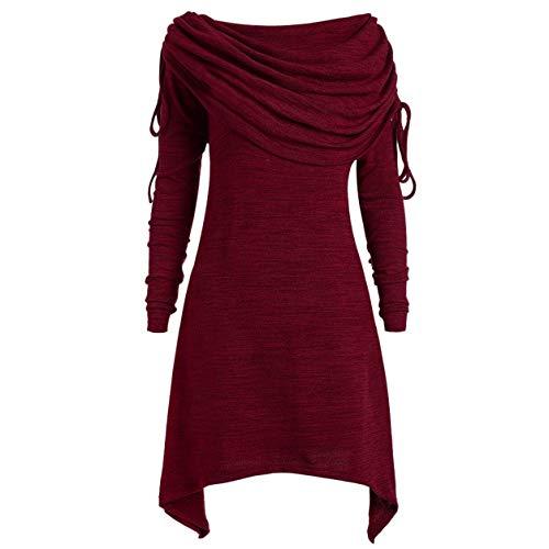 Damen Long Pullover, Damen Slim Bluse Slash Kragen Plus Size Fashion Solid Unregelmäßige Geraffte Lange Foldover Kragen Tunika Top Tops Moonuy
