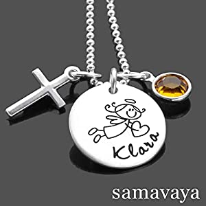 Taufkette Mädchen SEGENSBOTE KREUZ 925 Silber Kette mit Gravur Taufgeschenk