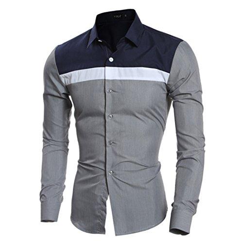 Men's Fashion Patchwork Slim fit Long Sleeve Shirts gray