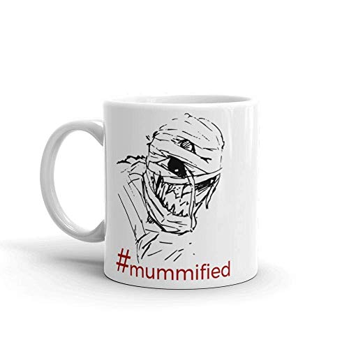 jingqi Hashtag Mummified Scary Mummy Halloween Coffee Mug Gift Idea