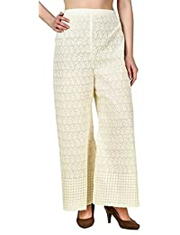 Trendy Attirez Cotton Full Chicken Plazzo Pant - Off White (Free Size- From Medium To XL)