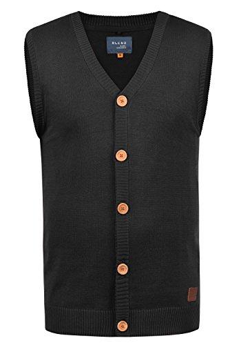 Blend Lennardo Herren Strickjacke Pullunder Cardigan Feinstrick Pulli Ärmellos mit V-Ausschnitt aus hochwertiger Baumwollmischung Meliert, Größe:S, Farbe:Black (70155)