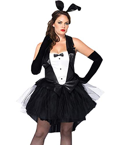 Kadila Bunny Girl Costume Set Women's Sexy Fancy Dress Tuxedo Rabbit Waitress Outfit for Easter/Halloween/Christmas/Party