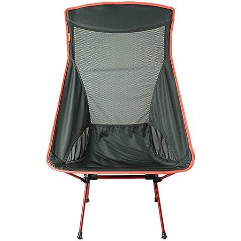 MCCOutdoor posteriore in alluminio pieghevole sedie Ultra Light Barbecue portatile per campeggio, pesca, sedia da spiaggia, Nero / arancio