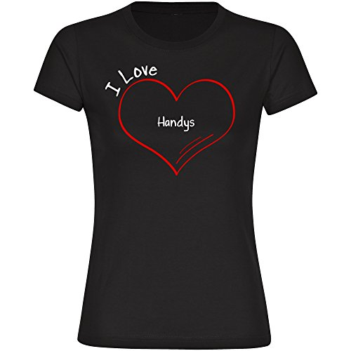 Image of T-Shirt Short Sleeve Crew Neck Black Modern I Love Handys Ladies Sizes S to 2XL Black black Size:XXL