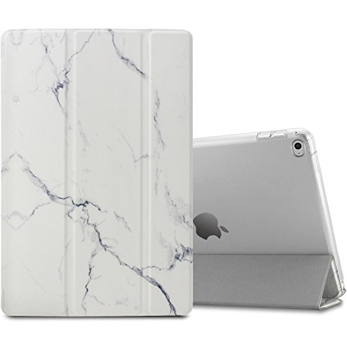 iPad Air 2 / iPad 6 Hülle, Infiland Ultra Dünn Tri-Fold Smart-Muschel PU Leder Ultra Schlank Superleicht Ständer Smart Shell Cover Schutzhülle Etui Tasche für Apple iPad Air 2 (2014 Modell)/ iPad 6(mit Auto Schlaf / Wach Funktion) (Marmor)
