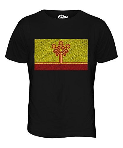 CandyMix Chuvashia Bandiera Scarabocchio T-Shirt da Uomo Maglietta Nero