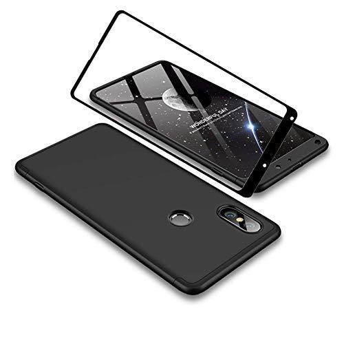 YFXP Xiaomi Mi Mix 2S Funda - Funda Xiaomi Mi Mix 2S 360 Grados Integral para Ambas Caras + Cristal Templado, Luxury 3 in 1 PC Hard Skin Carcasa Case Cover para Xiaomi Mi Mix 2S Negro