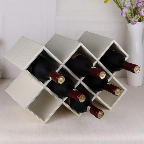 Madaye Leder acht Gitter Weinregal kreativ home Wohnzimmer Europäische Weinschrank Dekoration...