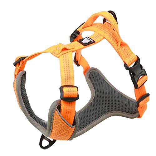 YUN Pet Brustgurt Sandwich Mesh Reflektierende Sicherheits LED Pilot Licht Hund Outdoor Wandern Training (Farbe : Orange, größe : L) -