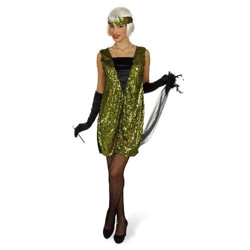 Disfraz de charlestón - vestido de los años veinte, traje con lentejuelas de mujer, con estola y cinta, verde - 36/38