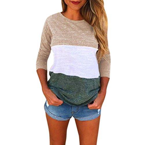 Mujer Ropa, Honestyi,mujeres de moda de manga larga de empalme de la blusa Tops camiseta (M, Caqui)