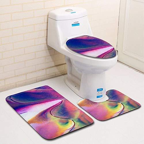 YSDDM Toilettenmatte,Farbe gemalt 3pcs / Set Badezimmer-Teppiche stellten rutschfeste Toiletten-Fußmatten-Untersatz-Teppich-Deckel-Toiletten-Abdeckungs-Mikrofaser-Bad-Matte, C013 EIN
