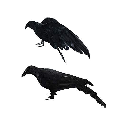 TAKEFUNS 2 große Simulation Raben, Halloween, realistische handgefertigte Krähe, Feder, Vogel Flügel, Krähenmodell, Spukhaus, Dekoration für Halloween-Partys