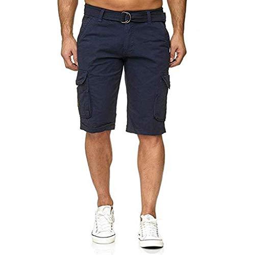 Zolimx Einfarbige Herren-Shorts mit mehreren Taschen, Herren Knopf Einfarbig Baumwolle Mehrfach Overalls Shorts Cargo Short Pant -