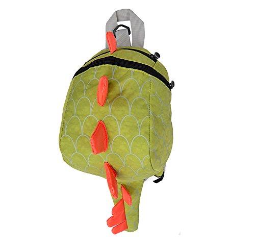 ailishabroy Jungen Mädchen Dinosaurier Rucksack mit Zügel Kinder Spielzeug Sicherheit Anti-verloren Strap Kleinkind Gepäck für Kinder (Grün)