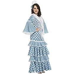 My Other Me - Disfraz de flamenca Huelva para mujer, color turquesa, M-L (Viving Costumes 204372)