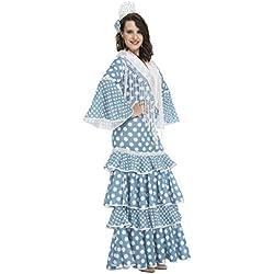 My Other Me Disfraz de flamenca Huelva para mujer, color turquesa, M-L (Viving Costumes 204372)