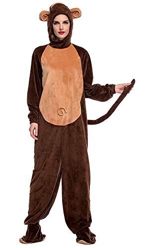 e173215ea8 FEOYA Costume da Scimmia Adulto Uomo Donna Tuta Animale Pigiama Cosplay  Halloween XL 175 - 185cm