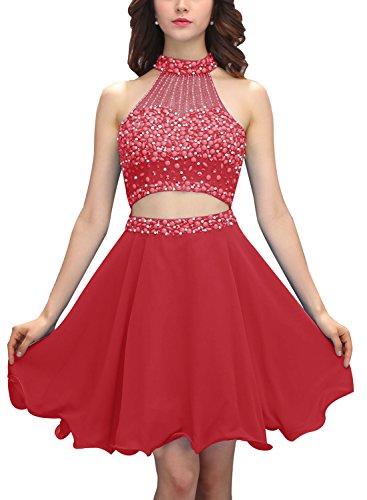 Bbonlinedress Robe courte de soirée de cocktail Robe de bal emperlée deux pièces Rouge Foncé