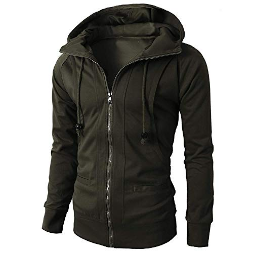 IMJONO Fashion Mens ' Herbst Winter Lange Ärmel Sport Zipper Hoodie Pullover Bluse Tops (EU-48/CN-L,Armeegrün)