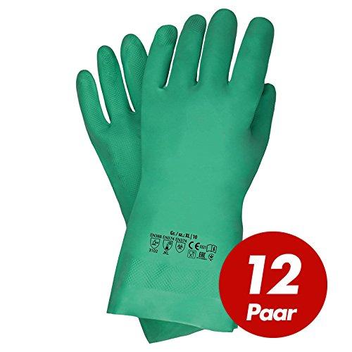 Chemieschutz Handschuhe Nitril grün EN 374-3 Größe 8 - 12 Paar