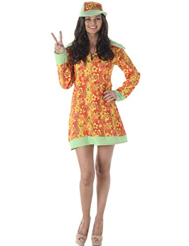 Fancy Dress Lady Kostüm - Groovy Girl Ladies Fancy Dress Hippie 60s 70s Hippy Womens Adults 1960s Costume