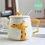 HENGRUI Personnalité créative Dessin animé en céramique Marque Tasse ins Femelle avec Couvercle cuillère Couple Eau Tasse Lait café Tasse Petit déjeuner Tasse Girafe