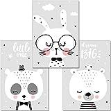 artpin® 3er Set Poster Kinderzimmer Deko - Bilder Babyzimmer DIN A4 - Wandbilder Mädchen Junge Schwarz Weiß Grau - Kinderposter Panda Bär Hase Wolken (P46)