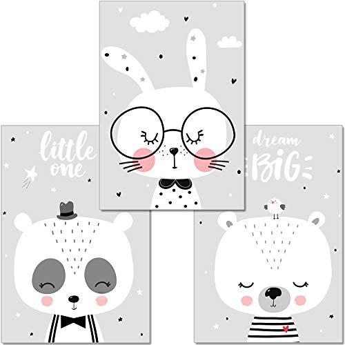 ter Kinderzimmer Deko - Bilder Babyzimmer DIN A4 - Wandbilder Mädchen Junge Schwarz Weiß Grau - Kinderposter Panda Bär Hase Wolken (P46) ()