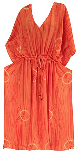 La Leela tie dye vêtements de plage maillots de bain maillot de bain bikini robe caftan de rayonne le maxi des femmes Orange