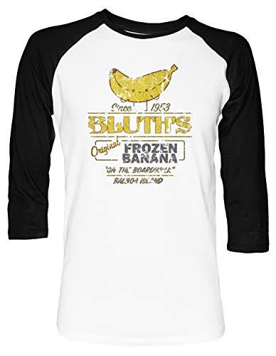Bluth's Original Frozen Banana - Vintage - Vintage Unisex Baseball T-Shirt 2/3 Ärmel Herren Damen Weiß Schwarz -