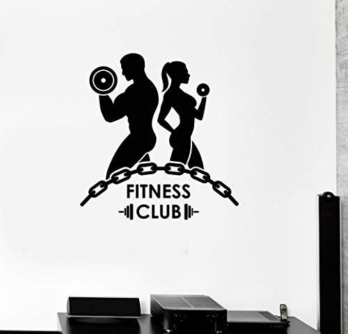 JXLK Kostenloser versand Fitness Vinyl Wandtattoo Fitness Club Bodybuilding Gym Motivation Sport Wandbild Wanddekoration Wandaufkleber 58 x 61 cm