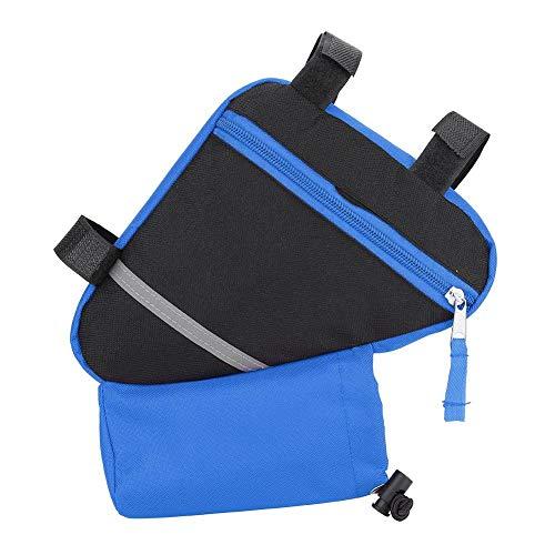 Fahrrad Dreiecktasche, Durable Schnellspanner Bike Aufbewahrungstasche Fahrradrahmentasche Bike Top Tube Bag für Flasche Handy Reparatur Werkzeuge(Blau)