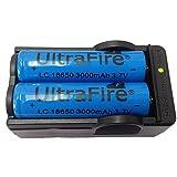 Malloom 2 x Cargador de batería de UltraFire 18650 4200mAh 3.7V batería Recargable + Charger18650