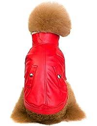 Ropa para Mascotas, Gusspower Chaqueta Espesar de Terciopelo Moda Cuero Cremallera Chaqueta Abrigo para Perro Mascota