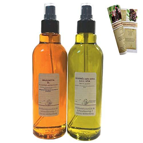 Geschenkset & Probierset in Sprühflasche | 2 x 200ml Öl | Bruschetta Öl + Olivenöl nativ extra A.O.C. Sitia | mit Rezeptbroschüre
