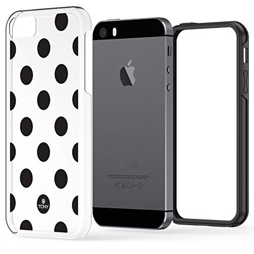 iPhone SE 5 5s haltbare dünne stoßfeste Hülle Case Cover Soft Slim TPU-Bumper , True Color® Mittelgroße Punkte gedruckt auf transparentem Hybrid Cover Hartschale - Weiß Mittelgroße Punkte Schwartz