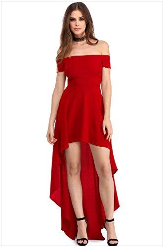 Minetom Donna Estate Lungo Vestito Spalla Nuda Tinta Unita Spiaggia Abito Partito Cocktail Prom Dress Vestiti Rosso