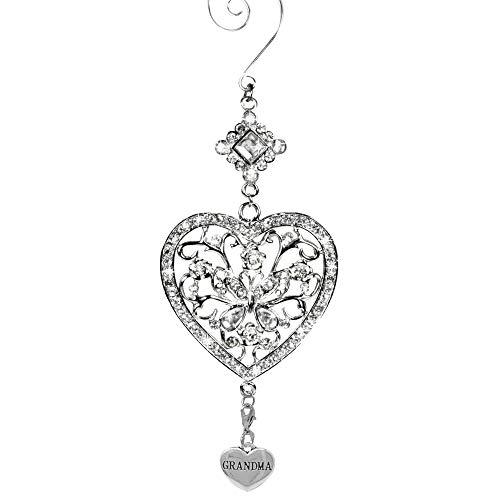 Banberry Designs Oma Herz und Schmetterling hängendes Ornament - klare Kristalle und Filigrane Ornamente - glitzerndes Silber - Geschenk für Mama -